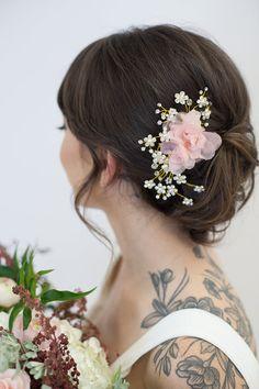 Casque de cristal or, Ivoire Organza Flower Bridal peigne, accessoires de cheveux de mariage, Blush fleur bandeau, accessoires à cheveux de mariée or