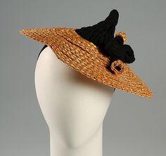 Hat | Selbine (American) | Date: ca. 1935 | Materials: straw, wool | The Metropolitan Museum of Art, New York
