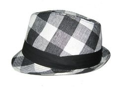 7f573d29b54 New Plain Cuban Style Fedora Fashion Hat - Plaid Black   White Amazon  Clothing