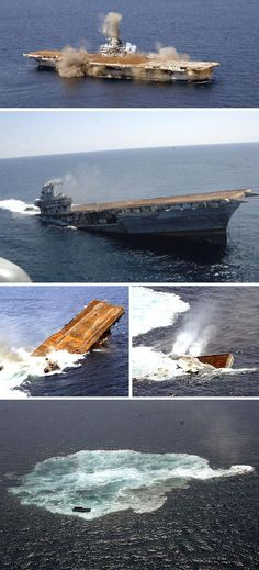 USS Oriskany (CV Sinking of the former carrier off the coast of Florida, May 2006 to become the world's largest artificial reef. Us Navy Aircraft, Navy Aircraft Carrier, Navy Carriers, Go Navy, Abandoned Ships, Us Navy Ships, Armada, United States Navy, Shipwreck