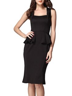 71df9eaa29372 Tight-Fitting Pure Color Square Neck Flouncing Knee Length Pencil  Sleeveless Work Dress on buytrends.com