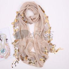 Ladies sequined wool scarf