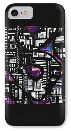 A Square Abstract Overflowing With Geometric's Decorating The Black Outlined Snakelike Structure .surrounded By Colored Background.contemporary IPhone 7 Case featuring the painting Unexpected Transport by Expressionistart studio Priscilla Batzell