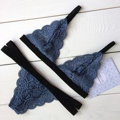 Loving this bluish/grey triangular styled lingerie! Lingerie Outfits, Pretty Lingerie, Beautiful Lingerie, Bra Lingerie, Lingerie Sleepwear, Nightwear, Cute Underwear, Lingerie Collection, Lace Bralette