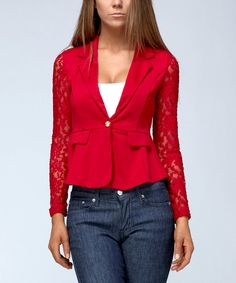 Look at this #zulilyfind! Ruby Rose Red Lace-Sleeve Blazer by Ruby Rose #zulilyfinds