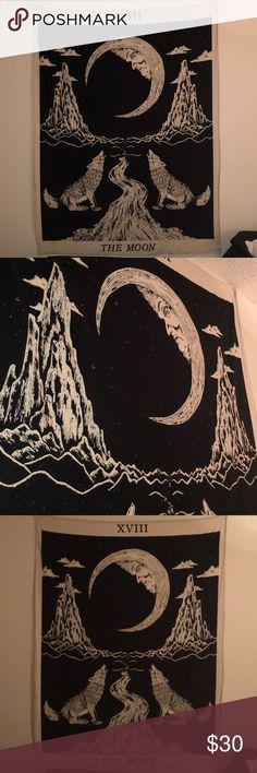 Wolves/ Moon Tapestry This is an awesome glow in the dark, black and white tapestry. Urban Outfitters Other