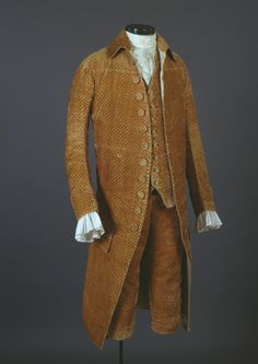 """Suit, 1780s-90s. From the McCord Museum description: The owner of this elegant suit was Dr. Philippe Louis François Badelart of Québec City, who listed his profession as surgeon. Salmon-coloured cut velvet in the collared style of a """"French frock."""" M18005-1.1-3-P1.jpg (543×767)"""