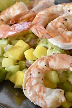 Healthy and easy to make Shrimp with Mango Cucumber Salad Salsa is a fast and tasty meal. Feel good about eating this quick and healthy shrimp dish. #mangoshrimp #mangosalsa
