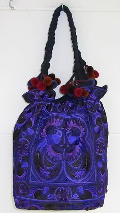 We just love our beautiful purple HMONG Hill Tribe Embroidered Fabric Tote Bag. #ethniclanna