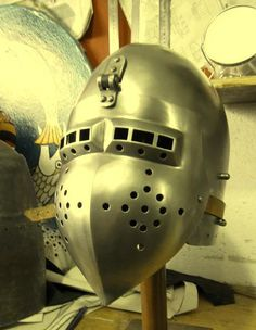 My new spring steel 14th century klapvisor bascinet for steel combat in the Armored Combat League (ACL).
