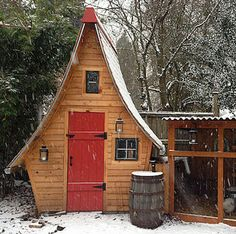 Story Book Chalet Coop - This charming chalet-styled chicken coop was built completely from scratch. Its chicken run, with a corrugated tin roof, is attached to the side. A rain barrel is incorporated into the design, which makes the cleaning maintenance easy and eco-friendly.