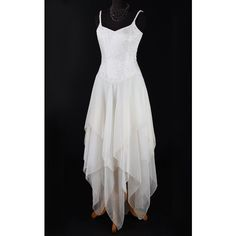 Faery Dress Wedding/Handfasting Boho Pixie style fairytale gown ($238) ❤ liked on Polyvore featuring dresses, gowns, boho chic dresses, ivory evening dress, bohemian evening dresses, ivory gown and winter white dress