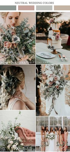 organic lush sage green and dusty rose moody neutral wedding color inspiration