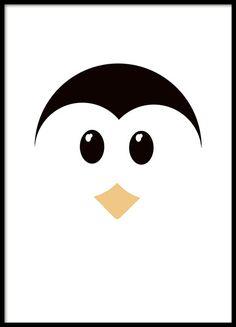 Kinderposter mit süßem Pinguin in grafischen Formen, perfekt für das Kinderzimmer. Es lässt sich zudem leicht mit dem Panda-Poster aus der Kinderposter-Kategorie kombinieren. www.desenio.de