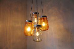 Tangerine Dream - Mason Jar Chandelier - 4 pint jars - Handcrafted Mason Jar Lighting Fixture - Upcycled BootsNGus Lamp - Direct Hardwire