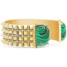 SupergaSMG412551 (€29) ❤ liked on Polyvore featuring jewelry, bracelets, pyramid jewelry, cuff bangle bracelet, spikes jewelry, green jewelry and hinged cuff bracelet
