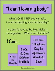 """""""I Can't Love My Body"""" What's one step you can take toward accepting your body today? by CamerinRoss.com"""