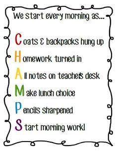 Classroom Management Strategies for Teachers - Start each day with this CHAMPS saying to get attendance and morning routines taken care of!