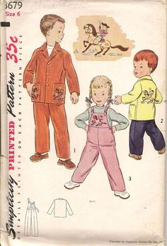 1950's Simplicity Sewing Pattern 3679 Child's Overall Jacket Transfer Incl. Sz 6