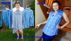 Men's Dress Shirt to Summer Top Refashion | Diary of a MadMama
