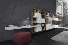 PRESOTTO | CrossART wall unit. The ecomalta® bianca wall-hung bench can be used as a shelf or writing desk. The special ecomalta® finish is applied by hand to obtain a completely smooth surface with no joints across the thickness. _ Parete TV CrossART. La panca sospesa in ecomalta® bianca può essere utilizzata come piano d'appoggio o come scrittoio. La speciale finitura in  ecomalta® viene eseguita artigianalmente, per ottenere una superficie continua priva di giunzioni.