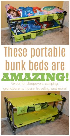 LOVE this travel bunk beds! They are a must-have for camping and sleepovers! LOVE this travel bunk beds! They are a must-have for camping and sleepovers! LOVE this travel bunk beds! They are a must-have for camping and sleepovers! Bunk Beds With Stairs, Cool Bunk Beds, Kids Bunk Beds, Portable Bunk Beds, Camping Bunk Beds, Camping Cabins, Sleepover Beds, Modern Bunk Beds, Modern Bedding
