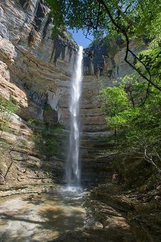 Hemmed-In Hollow, Buffalo River. Hemmed-In-Hollow Falls is a single drop waterfall located within the Ponca Wilderness Area of the Buffalo National River in northern Arkansas. The height of the falls is 209 feet.
