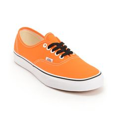 Pretty sure the guys should wear orange shoes too :)Vans Authentic Persimmon Orange and True White shoes.