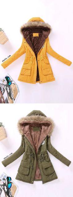Contrast Lined Faux Fur Hood Parka Coat