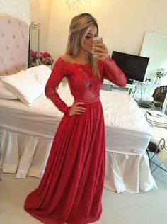 Buy A-line Long Illusion Sleeves Beading Prom Dress-Red Chiffon Evening Dress CHPD-70946 Prom Dresses With Sleeves under US$ 236.99 only in SimpleDress.