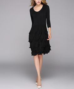 Jerry T Fashion Black Crinkle A-Line Dress - Plus Too by Jerry T Fashion #zulily #zulilyfinds