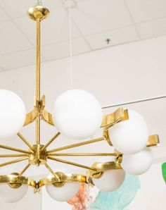 Vintage Murano Glass and Brass Chandelier