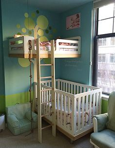 Toddler Sharing Room With Baby Josejimenez Info Room For Two Shared Bedroom Ideas Baby And Toddler Room Ideas Ronaldohome Co Two Kids In A Room Or Not Rookie Moms Joyful Life Shared Bunk Beds Small Room, Bunk Beds With Stairs, Kids Bunk Beds, Small Rooms, Bunk Bed Crib, Loft Beds, Small Spaces, Kura Bed, Kid Spaces