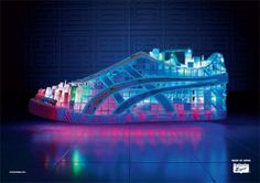 Media art developed in cooperation with 'Amsterdam Worldwide' for Onitsuka Tiger campaign DESIGN foc Onitsuka Tiger, Brand Campaign, Lit Shoes, Sneaker Art, 3d Laser, Print Ads, Cover Photos, 3 D, 3d Printing