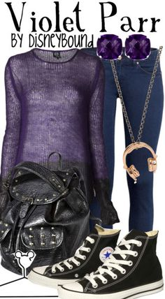 Violet Parr - The Incredibles (Disneybound) Disney Themed Outfits, Disney Bound Outfits, Violett Parr, Disney Inspired Fashion, Disney Fashion, Estilo Disney, Character Inspired Outfits, Fandom Fashion, Fandom Outfits