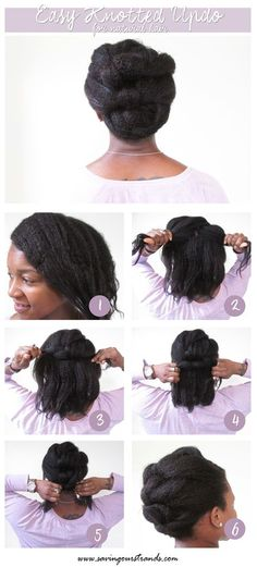 SavingOurStrands: A Healthy Hair Quest: Tutorial: Easy Knotted Updo for Natural Hair Easy Black Hairstyles, Natural Braided Hairstyles, Natural Hair Updo, African Hairstyles, Afro Hairstyles, Natural Hair Care, Trendy Hairstyles, Natural Hair Styles, Natural Makeup
