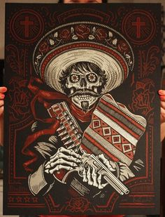 Loco Bandito Silk Screen Art Print by strawcastle on Etsy Mexican Tattoo, Day Of The Dead Art, Skull Artwork, Skeleton Art, Aztec Art, Desenho Tattoo, Chicano Art, Le Far West, Mexican Folk Art