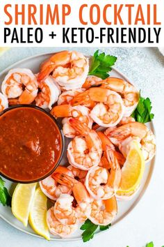 Impress guests with this shrimp cocktail recipe! It's such a healthy appetizer and so easy to whip up. Just poach the shrimp, chill and serve. #shrimp #shrimpcocktail #cocktailsauce #partyfood #appetizer #keto #paleo #eatingbirdfood
