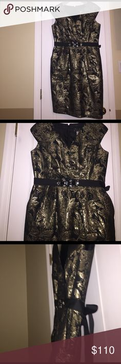 Black and gold luxurious dress. This black and gold dress speaks for itself. It's very festive perfect for extravagant cocktail parties or for New Years. New condition and worn only once.  Size 14 but fits 12 guaranteed. It has pockets and a black ribbon that can be tied as a bow in the back. Extremely expensive looking and attracts many compliments. Alex Evenings Dresses Mini