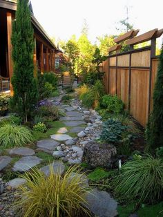 For walkway down to water - with river rock drain along side