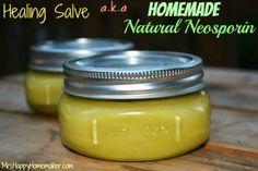 DIY Healing Salve aka Homemade Natural Neosporin - Great for minor cuts, scrapes, minor burns, diaper rash, eczema, dry skin, & MORE!
