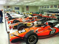 The Indy car museum. #2-1969, Andretti / #3-1968, B.Unser / #14-1967 Foyt  (up front, in pic)