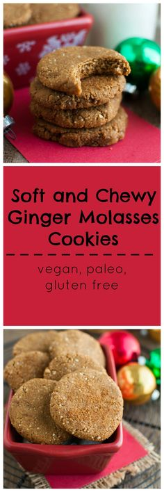 Soft and chewy ginger molasses cookies #vegan #paleo #glutenfree
