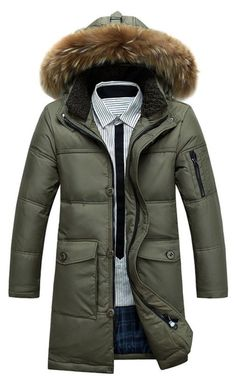 Galsang Men's Winter Mid Long Thicken Hooded Down Jacket Coat #Yr2186 (S-Chest Size 36, 68 Army green)