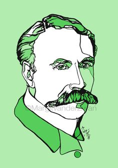 Edward Elgar : handmade ink portrait A4 giclee print of the great British Composer. What a magnificent moustache! Music wall art gift idea by ArtyMargit on Etsy