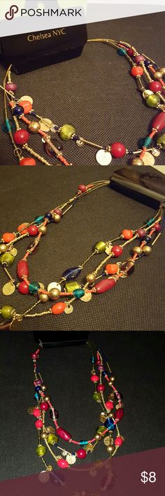 """New! Chelsea NYC necklace! New with tags, Chelsea NYC 18""""  necklace, 4 strands, multicolored beads & sizes, gold color accents, perfect unworn condition! Chelsea NYC Jewelry"""