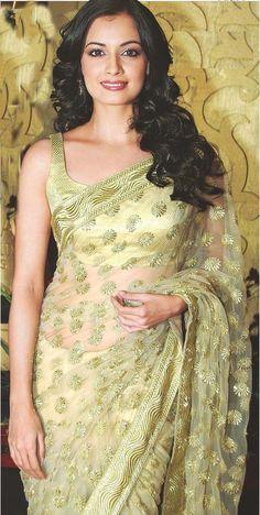 #DiaMirza in #Net Border & Sequins Work #Green #BollywoodDesignerSaree  #StayTrendy