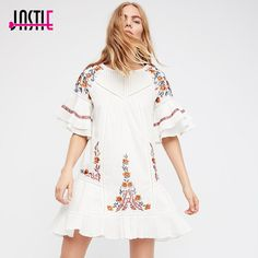 Jastie Vintage Floral Embroidery Women Dress 2018 Spring Summer Dresses O-Neck Casual Beach Mini Dress Boho Chic Female Vestidos Casual Chic Style, Boho Chic, Floral Embroidery, Vintage Floral, Boho Dress, Cold Shoulder Dress, Fashion Outfits, Summer Dresses, Spring Summer