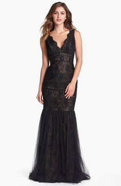 ML Monique Lhuillier Lace & Tulle Mermaid Gown available at #Nordstrom