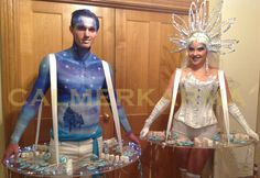 Elegantl Winter Wonderland themed hand painted CANDY BOY and CANDY HOSTESS creating a VISUALLY STUNNING addition to this Winter Wonderland Ball  Tel: 020 3602 9540  UK ENTERTAINMENT AGENCY spreading snow balls and reindeers  across UK inc MANCHESTER, STAFFORDSHIRE, BIRMINGHAM, BRISTOL, BRIGHTON & LONDON http://www.calmerkarma.org.uk/winter-wonderland.htm